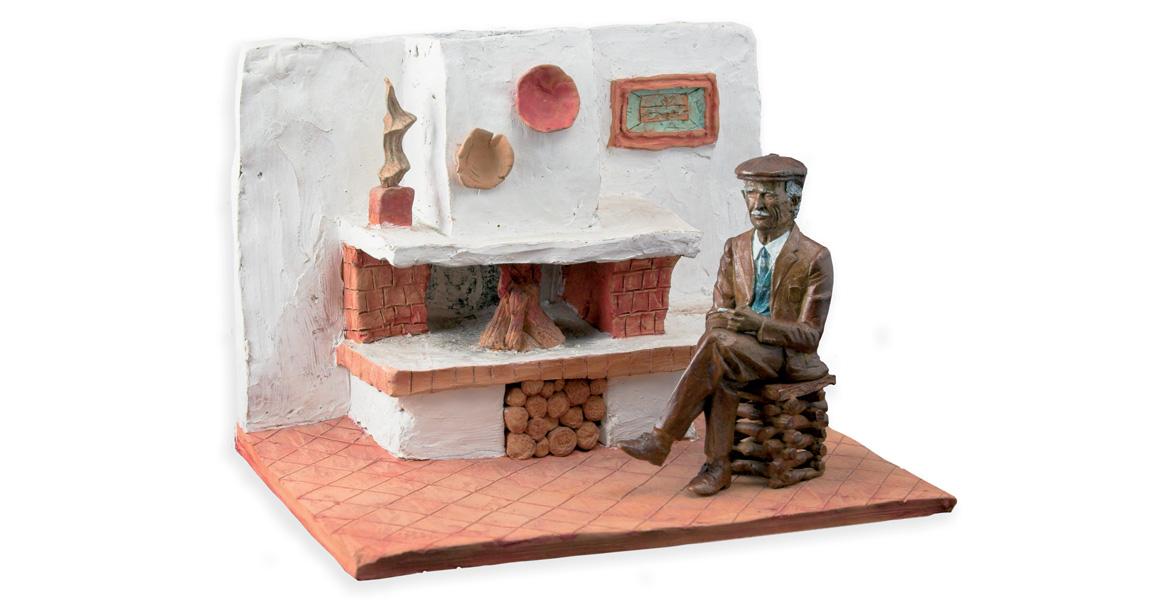 Tavernetta con papà Tecnica: terracotta e scultura in bronzo